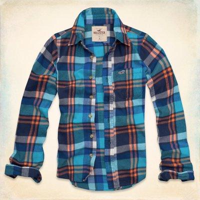 【天普小棧】 HOLLISTER Huntington Beach Flannel Shirt法蘭絨長袖格紋襯衫M號