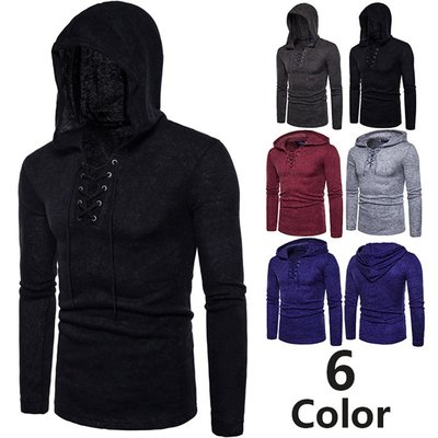 『X-男人館』 S4 男士個性套頭衫 穿繩厚素面毛衣 線衣 素面針織衫 6色連帽毛衣 線衫NRG481