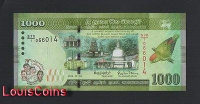 【Louis Coins】B1251-SRI LANKA-2018斯里蘭卡紀念紙幣,1000 Rupees