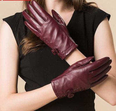 羊皮手套  秋冬季加絨保暖手套 女士蝴蝶結加厚手套