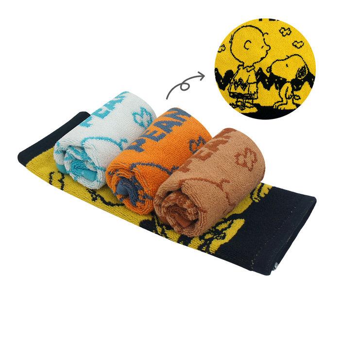 (大方巾2+毛巾2)(麻吉款)SNOOPY史努比 純棉撞色緹花方毛巾MORINO摩力諾 免運