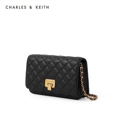 CHARLES&KEITH秋冬新品CK2-70160082-2女士菱格鏈條斜挎包包包