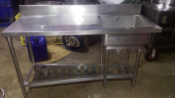 【泰裕二手貨餐具行】中古手工單口水槽附平台(其他週邊設備)