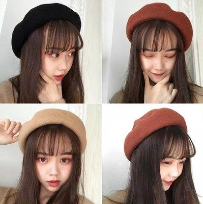 韓版帽子 立體複古貝雷帽 文藝畫家帽英倫百搭蓓蕾帽潮 可調節大小—莎芭