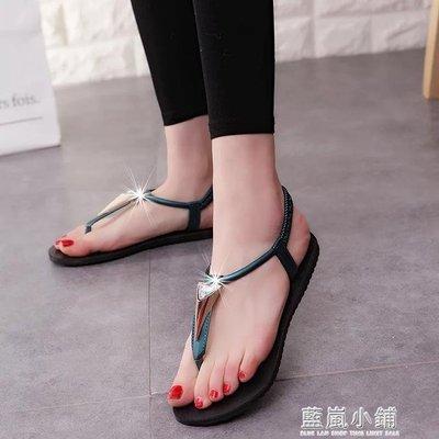 夏新款歐美平底夾趾涼鞋女平跟休閒學生鞋夾腳沙灘鞋羅馬涼鞋