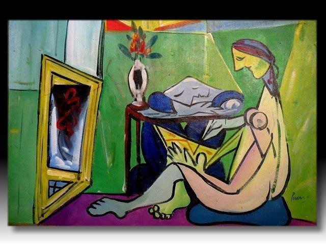 【 金王記拍寶網 】U1021 畢卡索 款 抽象 手繪原作 油畫一張 罕見 稀少 藝術無價~