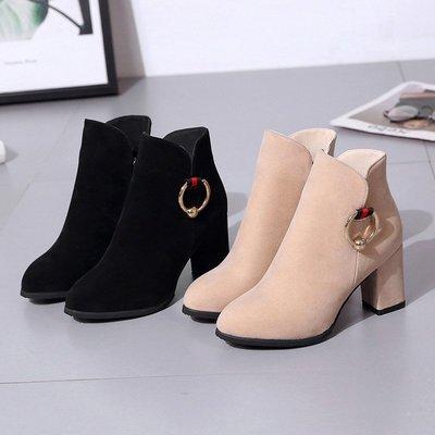 【潮包】包頭新款高跟鞋短靴側拉鏈防水冬季絨面金屬扣媽媽鞋韓版鞋款