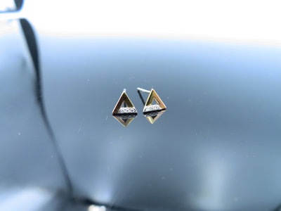 %玉承珠寶%輕珠寶系列~14k玫瑰金天然鑽石三角形耳環DE6