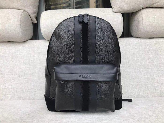 COACH 11250 新款男士後背包 素面真皮雙肩包 書包 旅行包 大容量