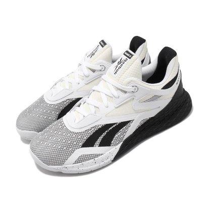 =CodE= REEBOK CROSSFIT NANO X 網布多功能訓練鞋(白黑) EH3094 健身房重訓 慢跑 男