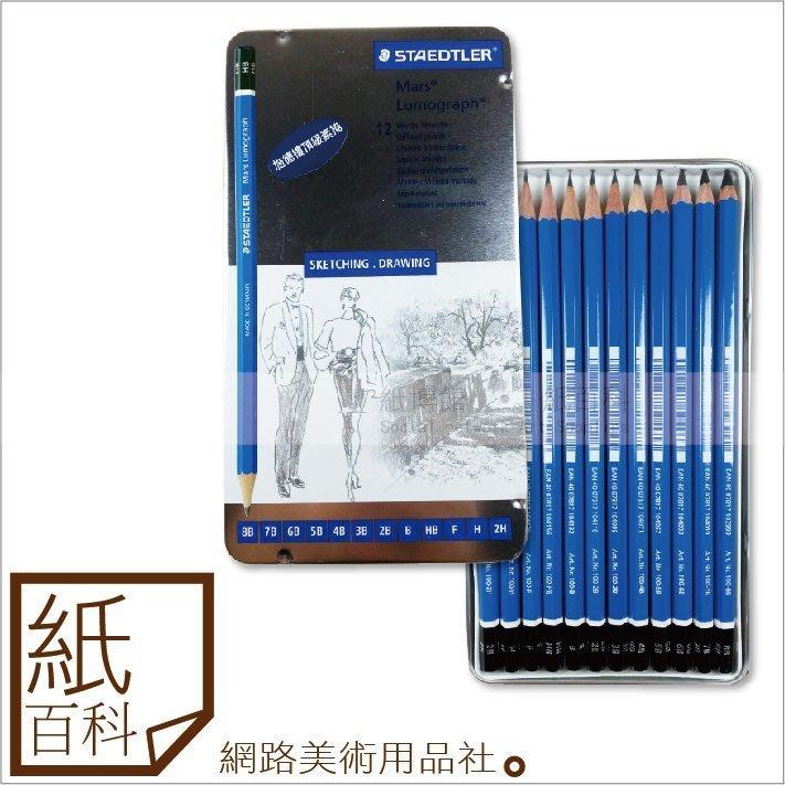 【紙百科】德國進口STAEDTLER施德樓/鐵甲武士 頂級藍桿繪圖鉛筆組12支/盒(鐵盒裝),素描/寫生/繪畫/美術