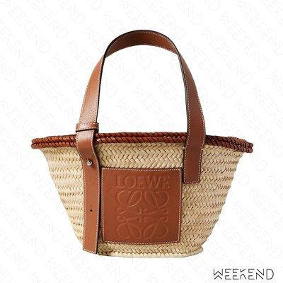 【WEEKEND】 LOEWE Small Inlay 小款 棕櫚葉拼小牛皮 托特包 編織包 草編包