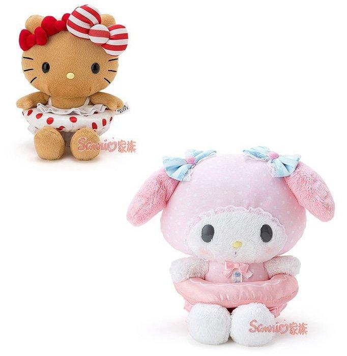 《東京家族》Hello Kitty &  Melody 美樂蒂  暑假與海邊系列  游泳圈 毛絨玩具 絨毛玩偶  2選1