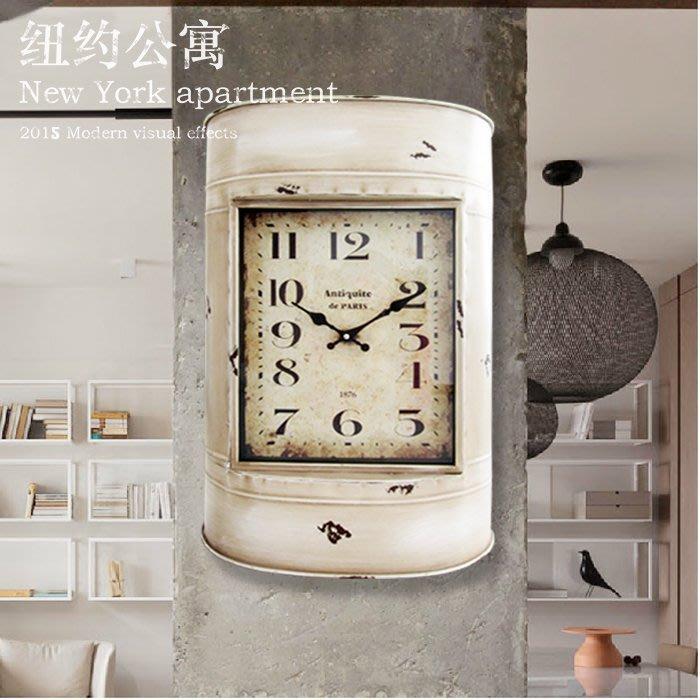 LOFT工業風復古壁掛鐘地中海創意油桶鐵藝客廳酒吧咖啡廳裝飾時鐘(剩紅色)