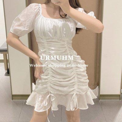 Liner 正韓女裝YT&UR 方領法式泡泡袖抽繩荷葉邊包臀白色連身裙女WG21R7BE2000