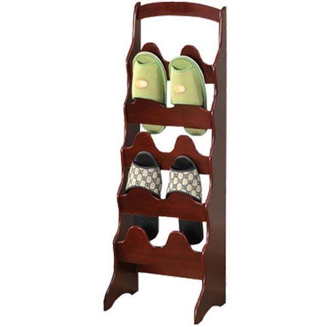 中華批發網:HD-610100  英式古典-拱形10入鞋插架-胡桃木色