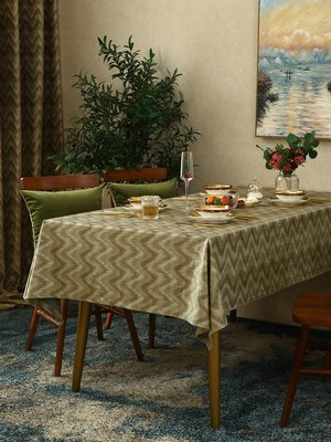 SUNNY雜貨-現代美式波普風餐桌布桌旗北歐簡約幾何波紋茶幾布臺布蓋布#防塵罩#家居用品