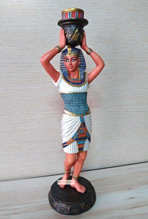 點點蘑菇屋 歐洲精品彩繪埃及法老燭台擺飾 燭臺 精緻飾品 藝術品 家飾品 埃及古文 圖騰 Egypt 現貨