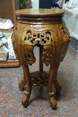 美生活館 --100%柚木實木家具----柚木中圓雕刻花架/板凳/邊几/角落架