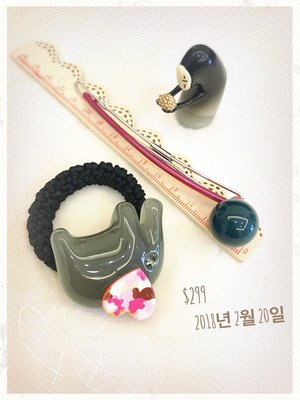 0220~妍選精品~ 全新品牌 全新感受 Grain de Beaute 灰大象彩虹耳朵與深深綠半圓長扣夾