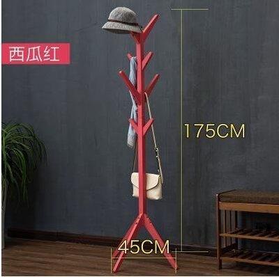 【優上】木馬人 簡易木質落地衣帽架 客廳臥室掛衣架「樹杈款-西瓜紅」