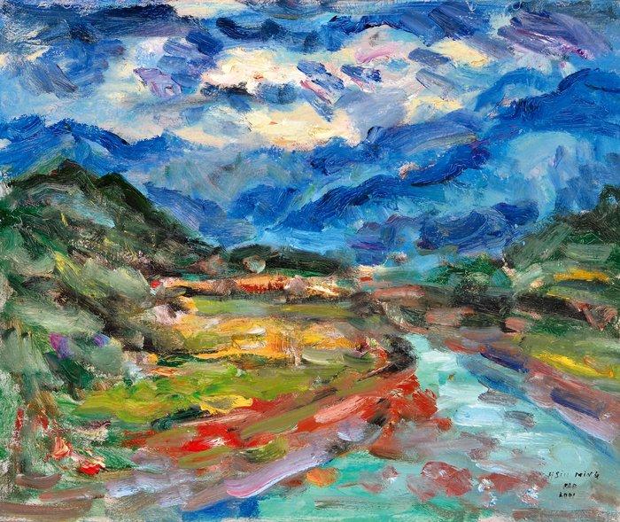 L2302 高秀明 山路彎彎 2001 20號 油畫(油彩、野獸派、台灣、苗栗、造橋、本土、星期日畫會、張萬傳、蔣瑞坑)