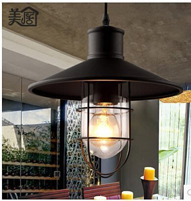 【易發生活館】特價北歐城堡loft複古鐵藝美式工業風酒吧燈小鐵籠吊燈燈罩吧台燈具