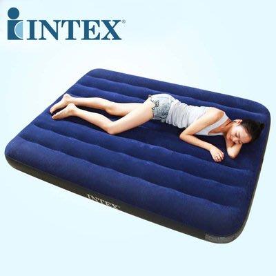 美國 INTEX 68758 雙人防水植絨充氣床加床或露營好用137cm*191cm*22cm(附修補片)