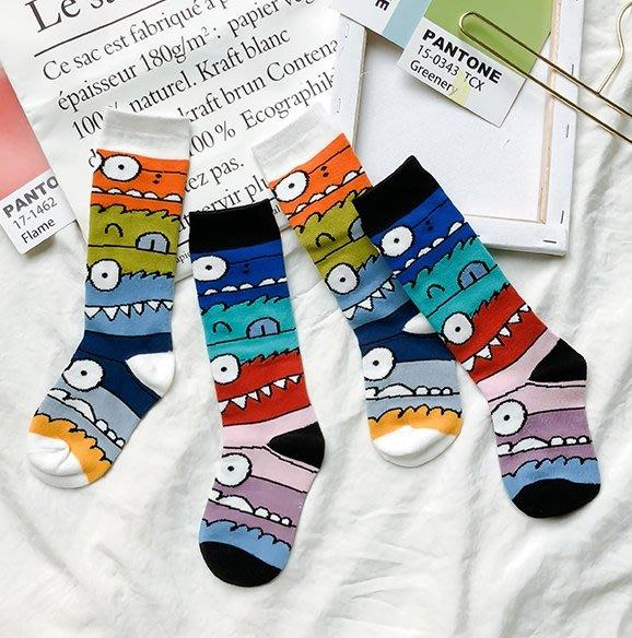 【小阿霏】兒童潮襪 中短筒彩色滿版尖牙小怪獸襪子 女童男童中統堆堆襪 男孩女孩中性襪子 中小中大童尺碼PA361