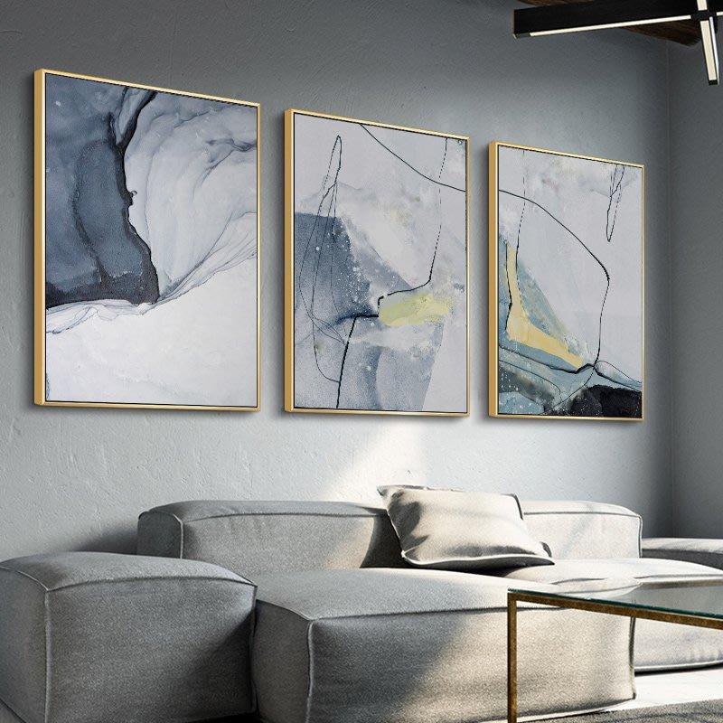 新中式現代簡約抽象幾何灰黑線條水彩裝飾畫(3款可選)