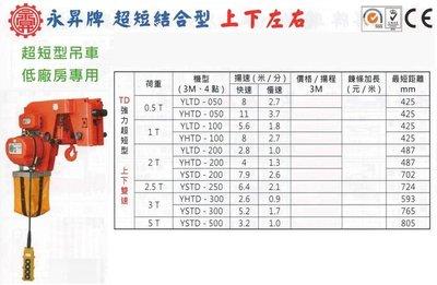 永昇牌 超短結合型 上下左右 超短型電動吊車 超短型鍊條吊車 超短型鏈條吊車 YSTD-200 荷重:0.5T