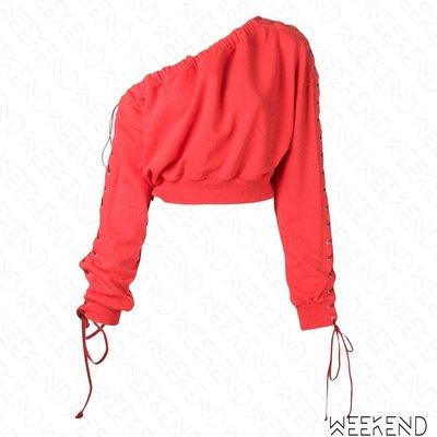 【WEEKEND】 UNRAVEL 切割 穿孔 綁帶 抽繩 寬領 可拉斜肩 露肩 長袖 上衣 紅色 19春夏