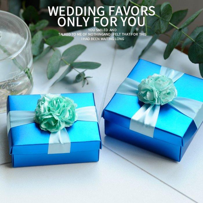 衣萊時尚-熱賣款  喜糖盒子紙盒 大號天藍色 歐式創意結婚婚禮包裝盒L-8