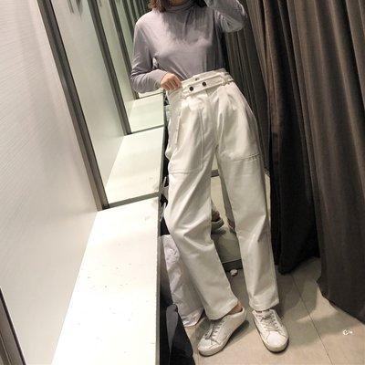 【Strawberry】19春夏女裝時尚高腰系腰帶插袋工裝白色休閑褲女