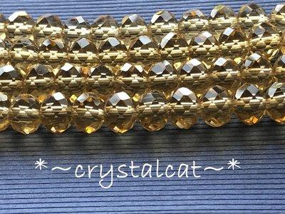 鵝黃色琉璃水晶切面扁珠手創飾品配件,8mm單顆
