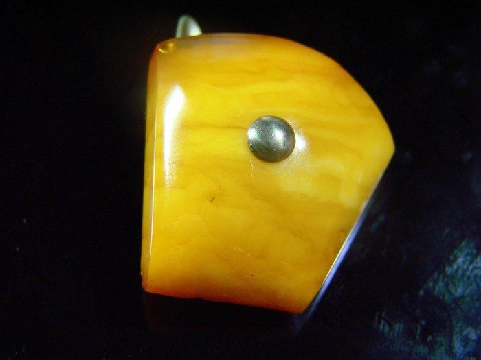 我的私房貨 *·.古董蜜蠟.·*保真 波羅的海 珠寶等級【 完美包漿 古董 純天然奶油蛋黃蜜蠟 袖釦】D65b玩古金銀