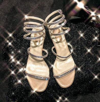 高跟涼鞋 水鑽粗跟蛇形纏繞露趾中跟百搭羅馬涼鞋—莎芭