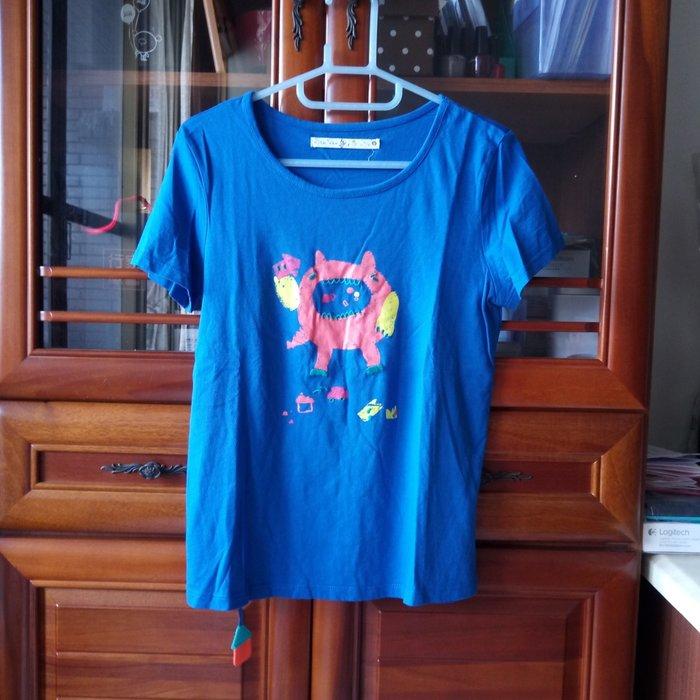 a la sha 寶藍色短袖上衣T