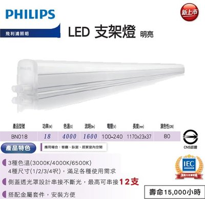 【高雄批發】飛利浦 Philips 18w LED 4呎 支架燈 層板燈 吸頂燈 BN018 明亮 自然光 高雄市