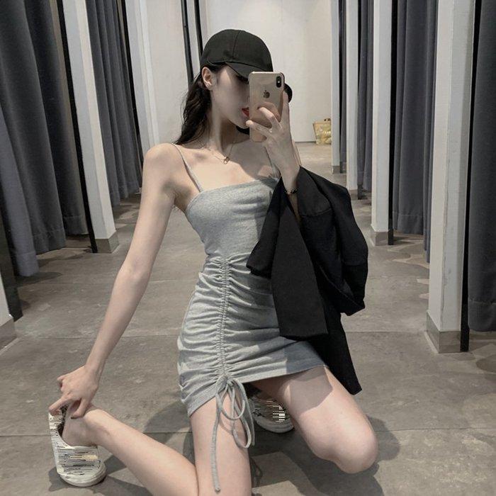 Qmi 2019夏季新款性感抽繩褶皺修身中長款包臀吊帶連衣裙