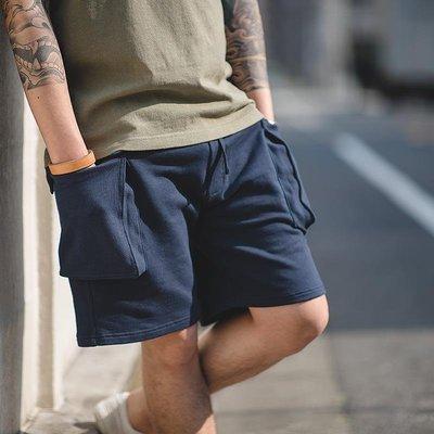 ∵ PRAY FOR FASHION ∴日系阿美咔嘰大口袋純棉短褲針織運動五分褲面質短褲