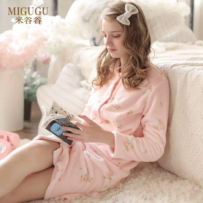 粉紅玫瑰精品屋~法蘭絨水貂絨玫瑰長袖開衫睡衣~現貨+預購