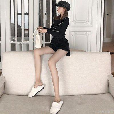 好物多商城 秋裝新款毛毛短褲高腰熱褲+長袖針織衫兩件套時尚套裝女裝潮