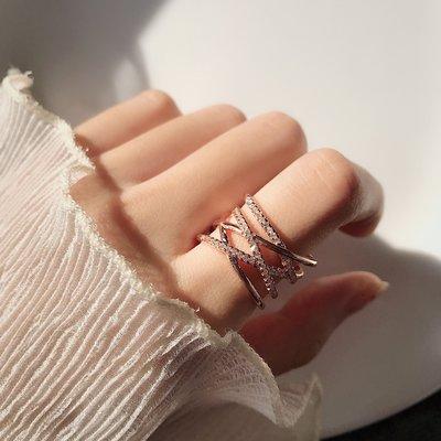 潮流飾品 戒指 情侶夸張氣質交叉纏繞寬版戒指韓版時尚潮人食指戒開口可調節指環女戒