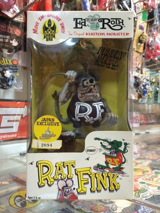 (I LOVE樂多)絕版老品RAT FINK RF全可動滑板鼠(灰黑款) 送人自家收藏皆適宜