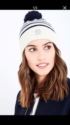 Miolla 英國品牌 Jack WIlls 藍白條紋澎澎球經典百搭款羊毛保暖毛帽