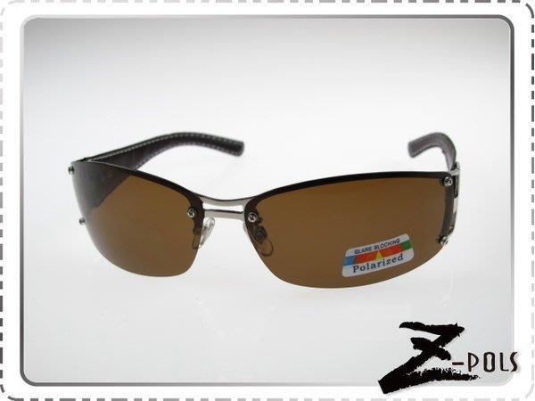 ☆Z-POLS專業代理新款☆金屬份量時尚感復古寬版皮革寶麗來偏光眼鏡,下殺