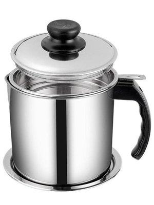 304不銹鋼油壺 帶蓋過濾網油罐廚房家用油瓶 大號裝油回油儲油罐