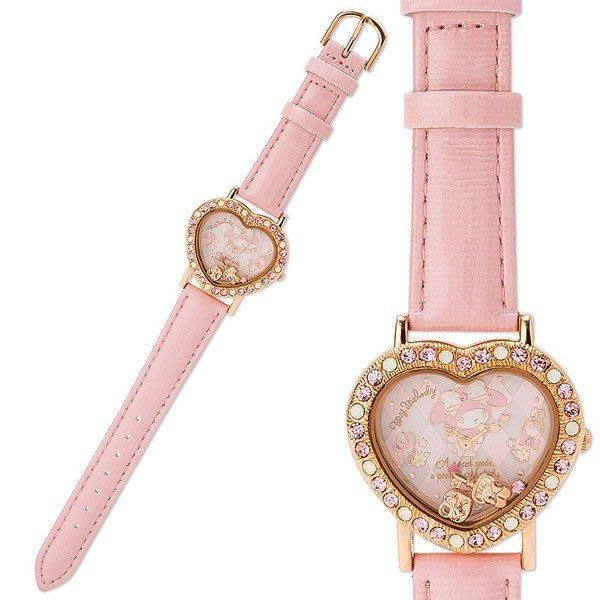 4165本通 三重店 美樂蒂 皮革造型手錶 粉金 站姿 菱格 紋造型指針 MM 4901610699751