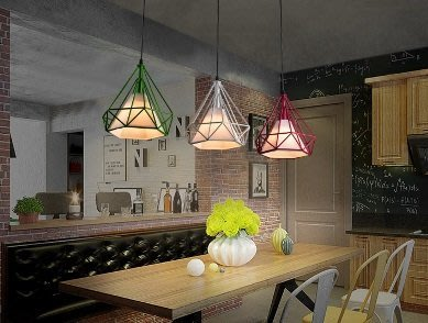 鐵藝鳥籠燈美式鑽石鐵藝復古吊燈復古北歐單頭餐廳美式工業吊燈